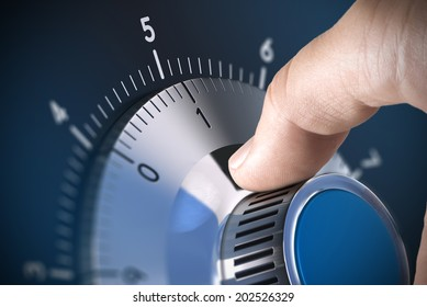Close up of a safe lock on a vault with blur effect and focus on the number one, blue tones. Conceptual image suitable for data security management and protection.
