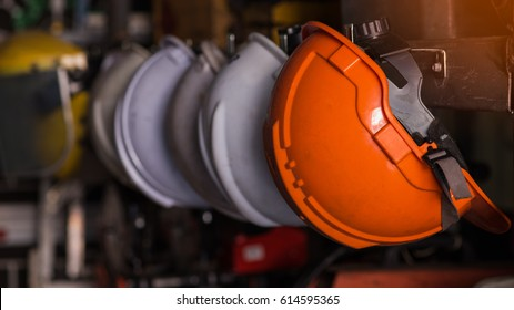 Close up safety helmet worker equipment.selective focus.