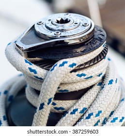 Close up of Sailboat winch and rope.