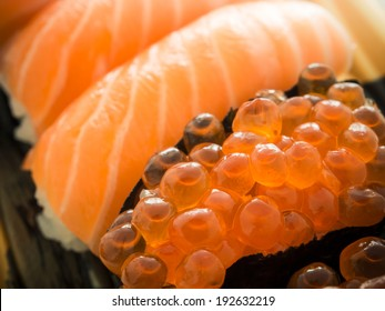 Close up salmon eggs sushi , japanese cuisine