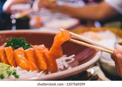 Close up of salmon sashimi. (vintage tone)