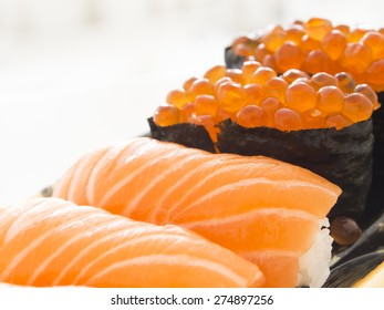 Close up salmon sushi