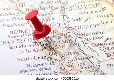 Close up of San Jose map with red push pin.