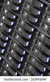 Close up of SAN storage hard drives in datacenter