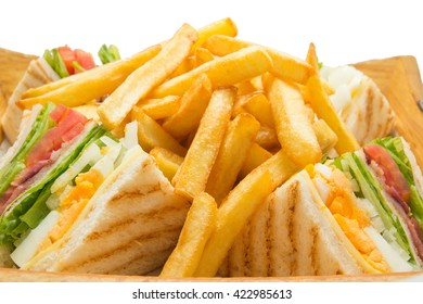 Close up of sandwich and french fries