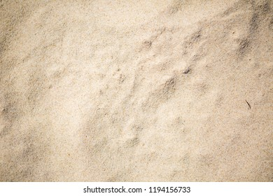 Close up of sandy sea shore. Sand structure lighten by strong summer sun.