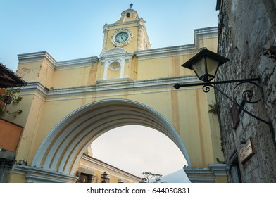 Close up to Santa Catalina Arch, the clock tower in Antigua, old historic city in Guatemala and a UNESCO world heritage site.