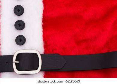 A close up of a santa suit, santa suit background