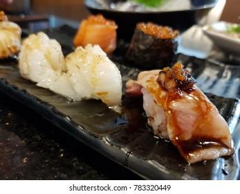 close up of sashimi sushi