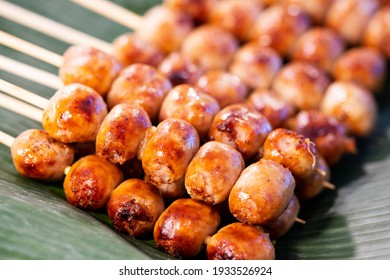 Close up of sausage grilled Thai traditional style, Sai krok isan, pork and rice, thai street food market - Shutterstock ID 1933526924