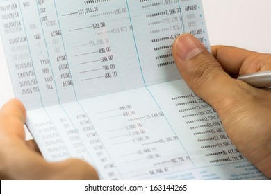Close up of saving account passbook