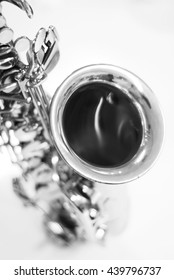Close up of saxophone , black and white tone