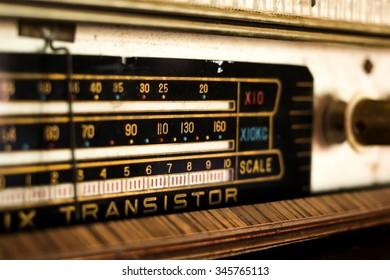 Close up scale bar on radio transistor