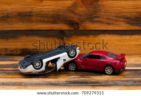 Close Scale Model Toy Car Crash Stock Photo Edit Now 709279315