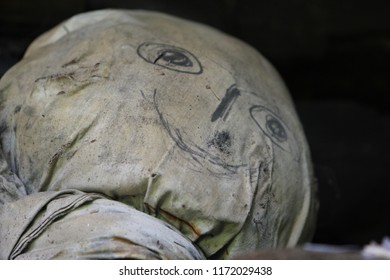 A close up of a scarecrow's head