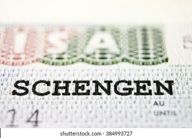 Close up Schengen visa in the passport