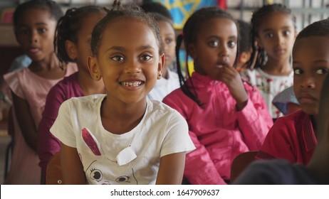 close up of school children in classromm of sunday school at Addis Abeba. 01st Febr.2020
