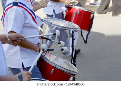 Close up of schooll kids participating in the November independence celebrations in their school band in Panama.