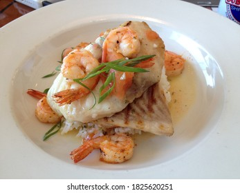 Up close Seabass and prawns risotto in creamy sauce