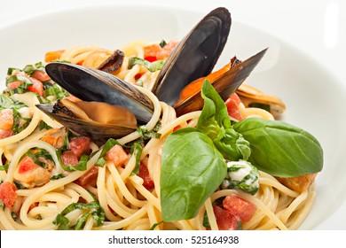 Close up of seafood spaghetti. Studio shot.