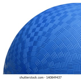 Close up Section of Blue Dodge Ball Isolated on White Background.