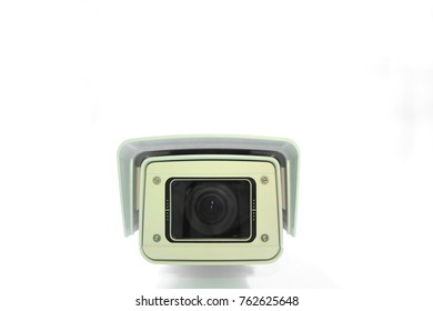 Close up security camera CCTV video surveillance On white background