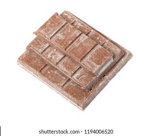 Close up of segment chocolate bar isolated on white background