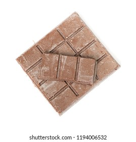 Close up of segment chocolate bar isolated on white background