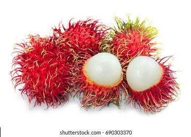 Close up Selective focus Fresh red Rambutans fruit of tropical, with sweet juicy delicious fruit isolate on white background