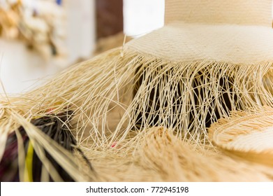 Close up of selective focus of handmade Panama Hat at indoor market in Otavalo, Ecuador