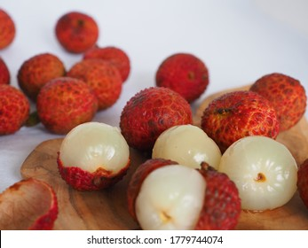 Close up and selective focus of juicy and sweet Buah Leci or Lychee fruits