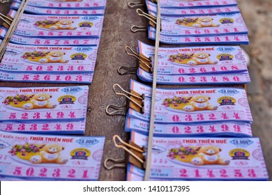 Close up and selective focus many of Vietnam Lottery put together waiting for distribution.The legal and popular gambling luck of the Vietnamese.Hoi An,Vietnam.May 29,2019.