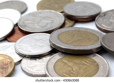 Close up and selective focus point on coin textures