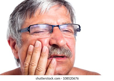 Close up of senior man face with toothache, isolated on white background.