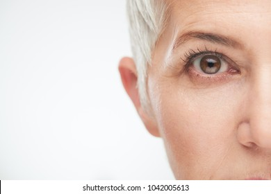 Close up of senir woman eye.