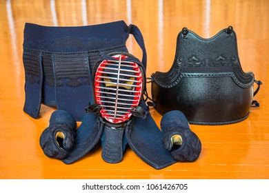 Close up of a set of kendo equipmentkit of kendo equipment, clothing, helmet, mittens, protection