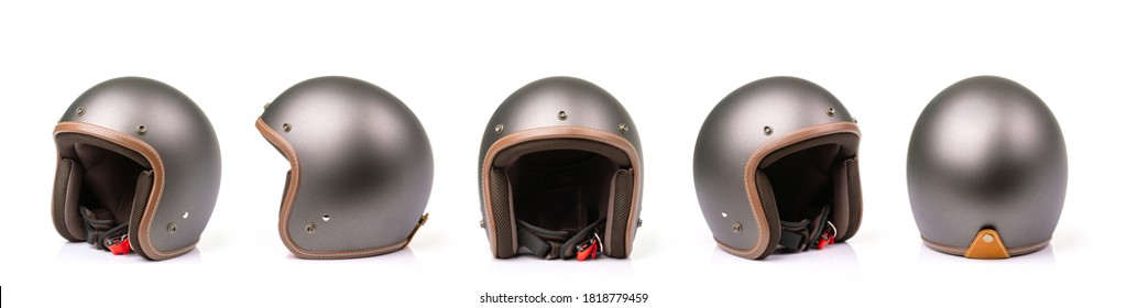 Close up set of new grey vintage helmet. Studio shot isolated on white background