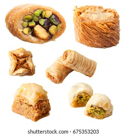 Close up set of traditional arabic baklava isolated on white background