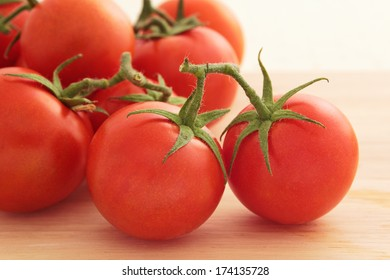 Close up of several vine tomatoes