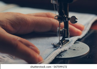 Close up of sewing machine and needle