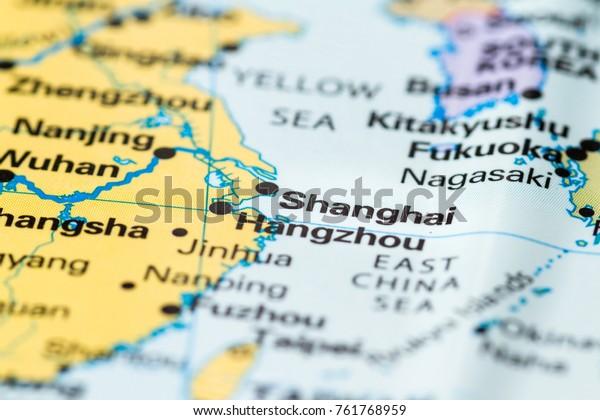 Close Shanghai On World Map Stock Photo Edit Now 761768959