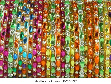 close up shining stones on bangles