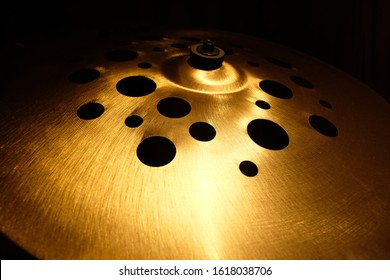 Close up Shiny Cymbals Musical instrument. Drum Set percussion. with selective focus
