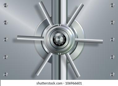 a close up of a shiny steel vault door and combination lock / vault