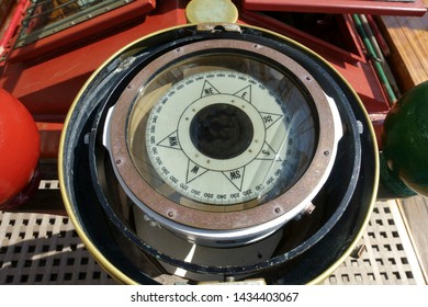 Close up of ship compass aboard large tall ship