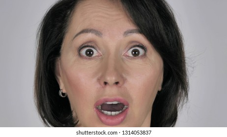 Close Up of Shocked, Wondering Businesswoman Face
