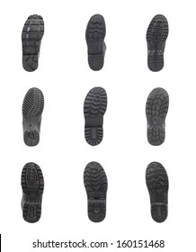 Close up of shoe soles collage. Isolated on a white backgropund.