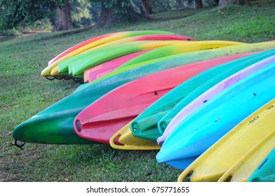 A close shoot of group of canoe, kayak in different bright colours