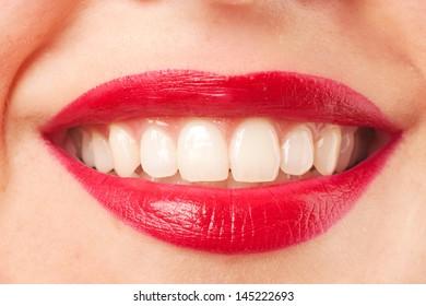 Close up shoot of lips young beautiful girl