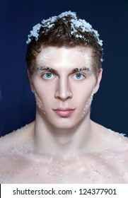 5f58c3170ea Close up shoot of an young frozen man with ice on a hair